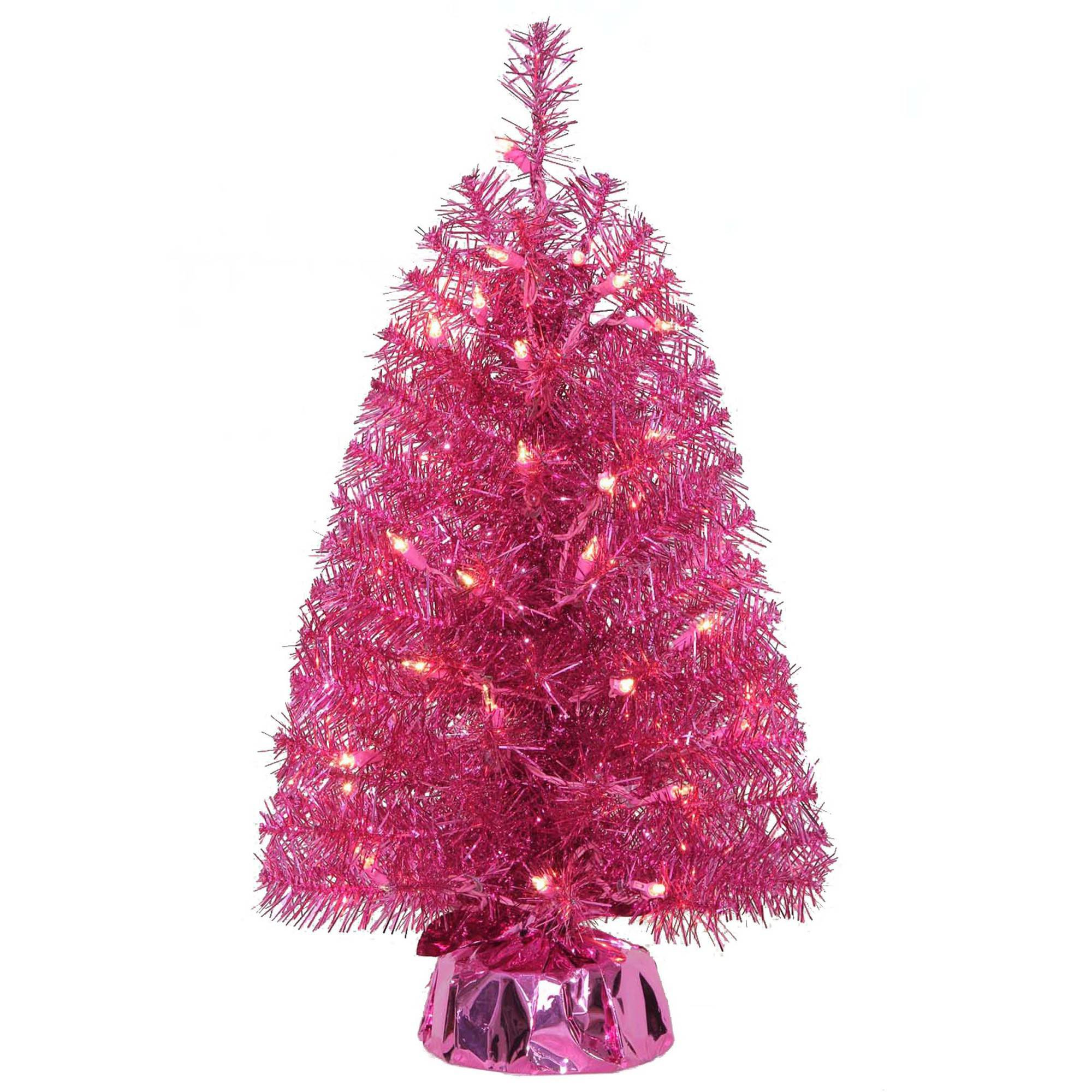 Pink Artificial Christmas Trees: Holiday Time 2ft Mini Pink Noble Tree