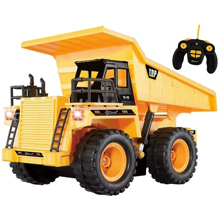 Top Race 5 Channel Fully Functional RC Dump Truck, Battery Powered Remote Control Heavy Duty Yellow Construction Dump Truck With Lights And Sound (TR-112)