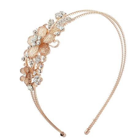 Lux Accessories Rose Gold Tone Floral Stone Bridal Flower Girl Wire Headband (Flower Headband)
