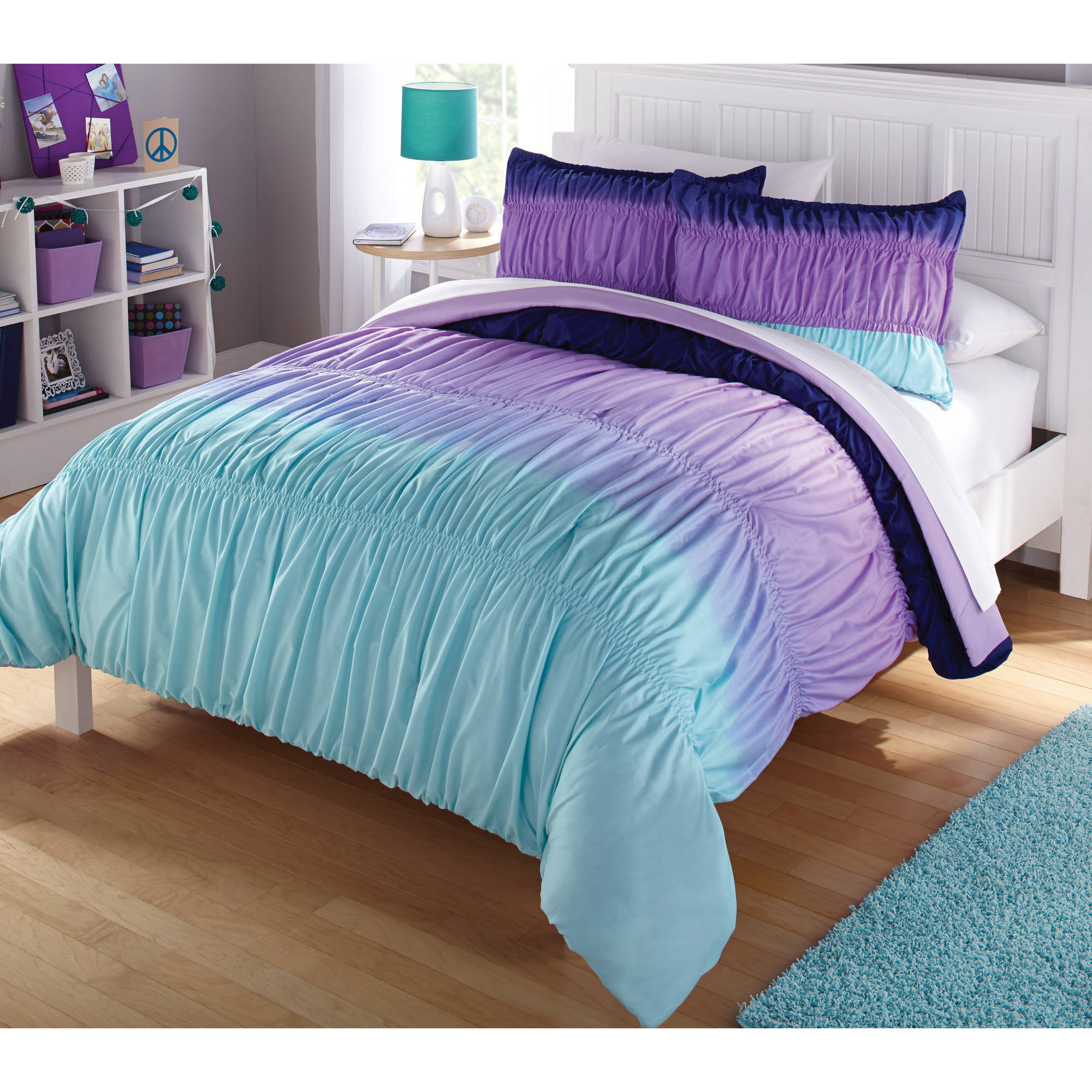 Blue and green bedding for teens - Latitude Ombre Ruched Reversible Complete Bedding Set Purple