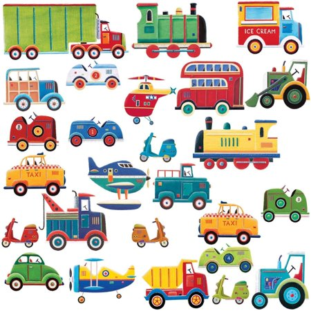 CARS & TRUCKS 26 Wall Stickers Decor Vehicle Decals Kids Room Decor Nursery Planes (Toy Tractor Decals)