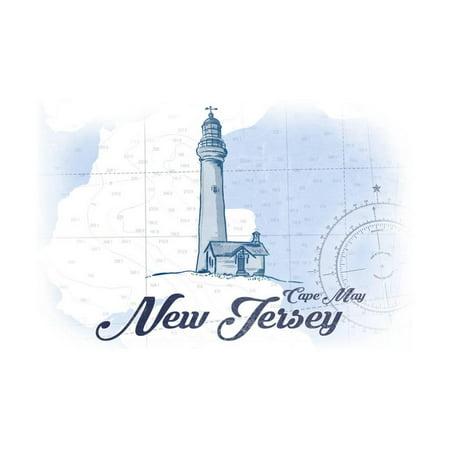 Cape May, New Jersey - Lighthouse - Blue - Coastal Icon Print Wall Art By Lantern Press