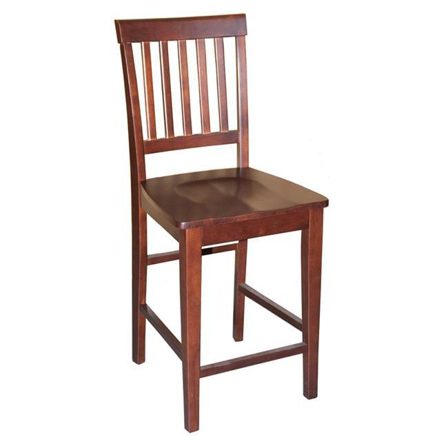 Wooden Imports VN10-WC-MAHO 2 Vernon Counter Stools with Wood Seat - Mahogany