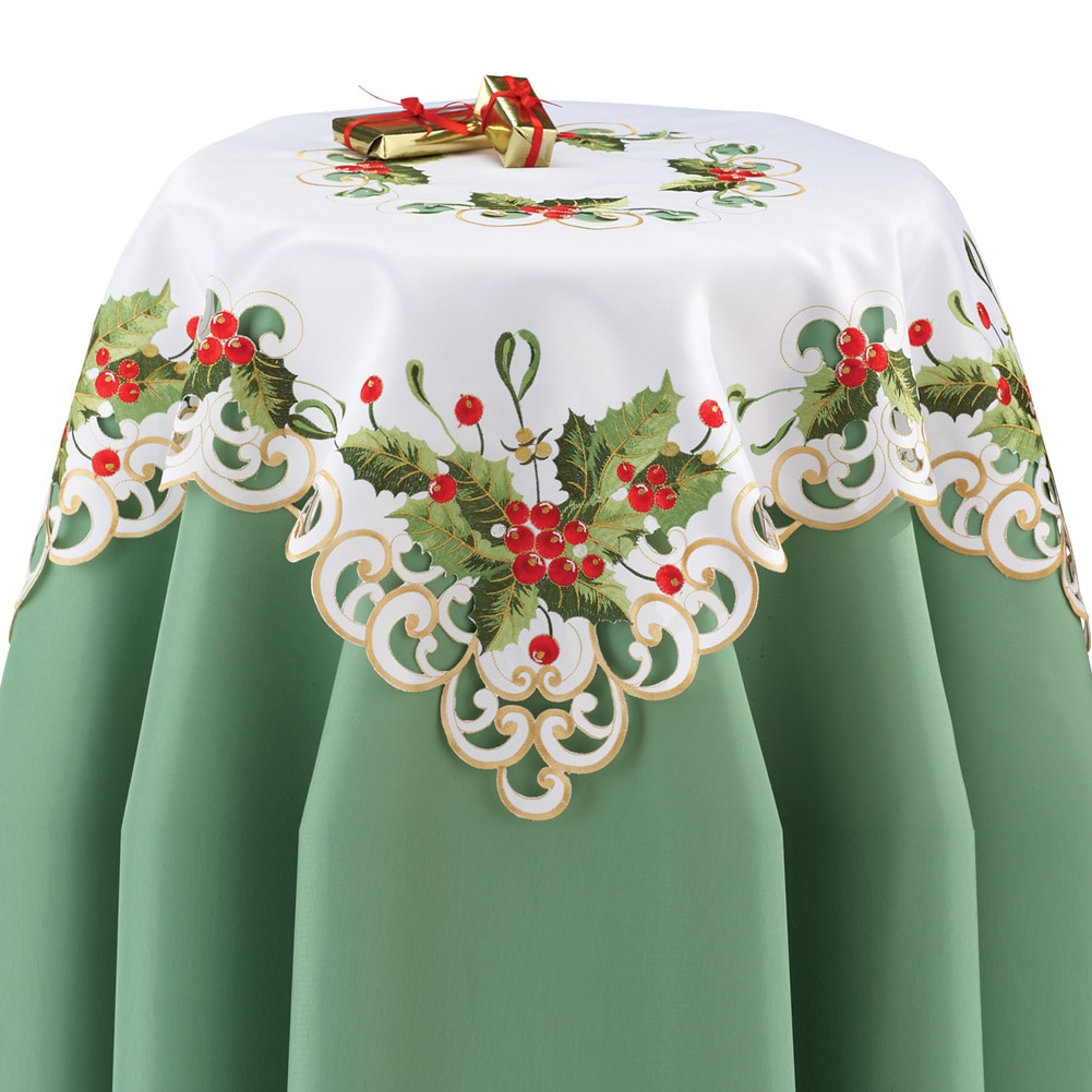 Holly Berries Exquisite Christmas Table Linens, Square, White