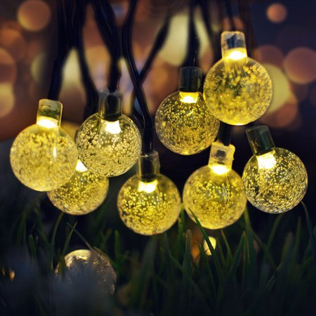 Solar String Lights 50 LED 7M Globe Outdoor Waterproof Crystal Ball Christmas Decoration Lights Solar Patio Lights Decorative for Xmas Tree Garden Home Lawn Wedding Party Holiday meters Lighted Lawn Decorations