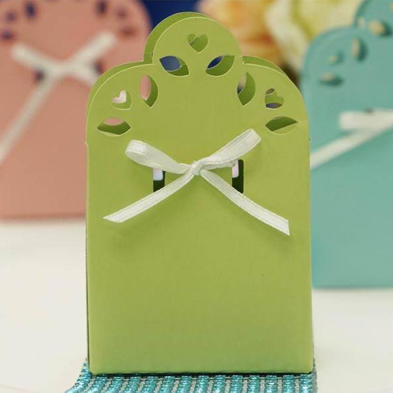 Efavormart 100 Cute Wedding Gift Favor Boxes with Ribbon for Gift Candy Treat Cupcake Packing Box Party Favors - 11 colors