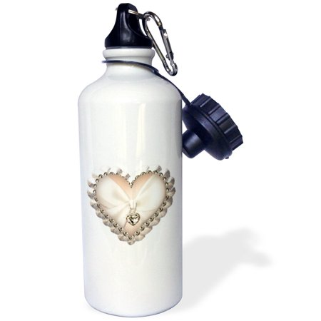 3dRose Pink and White Faux Jeweled Heart , Sports Water Bottle, - Pink Jeweled Heart