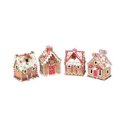 Set of 4 Gingerbread Kisses Gingerbread House Christmas Decor