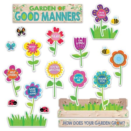 Good Manners Bulletin Board - Garden of Good Manners Mini Bulletin Board (6949), Use this set to highlight nine good manners for students: take turns, raise your hand, Help others,.., By Creative Teaching Press