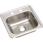 Elkay D115152 Dayton Stainless Steel Single Bowl Top Mount Bar Sink with 2 Faucet Holes, Satin