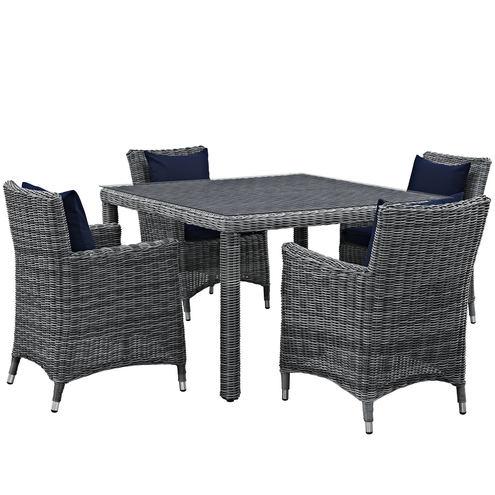 Modern Contemporary Urban Design Outdoor Patio Balcony Five PCS Dining Chairs and Table Set, Navy Blue, Rattan
