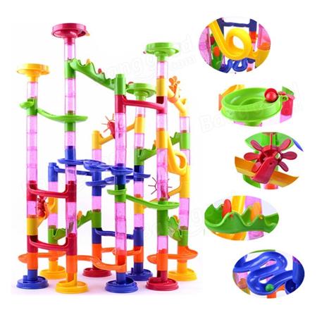 Coaster Maze Toy - 58Pcs DIY Building Blocks Track Run Race Tower Marble Ball Enlighten Construction Toys Learning and Development Toys for Children Kids Boys Girls
