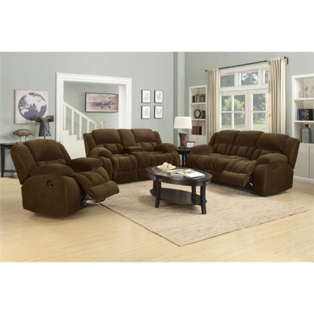 Coaster Weissman 3 Piece Reclining Sofa Set in Brown