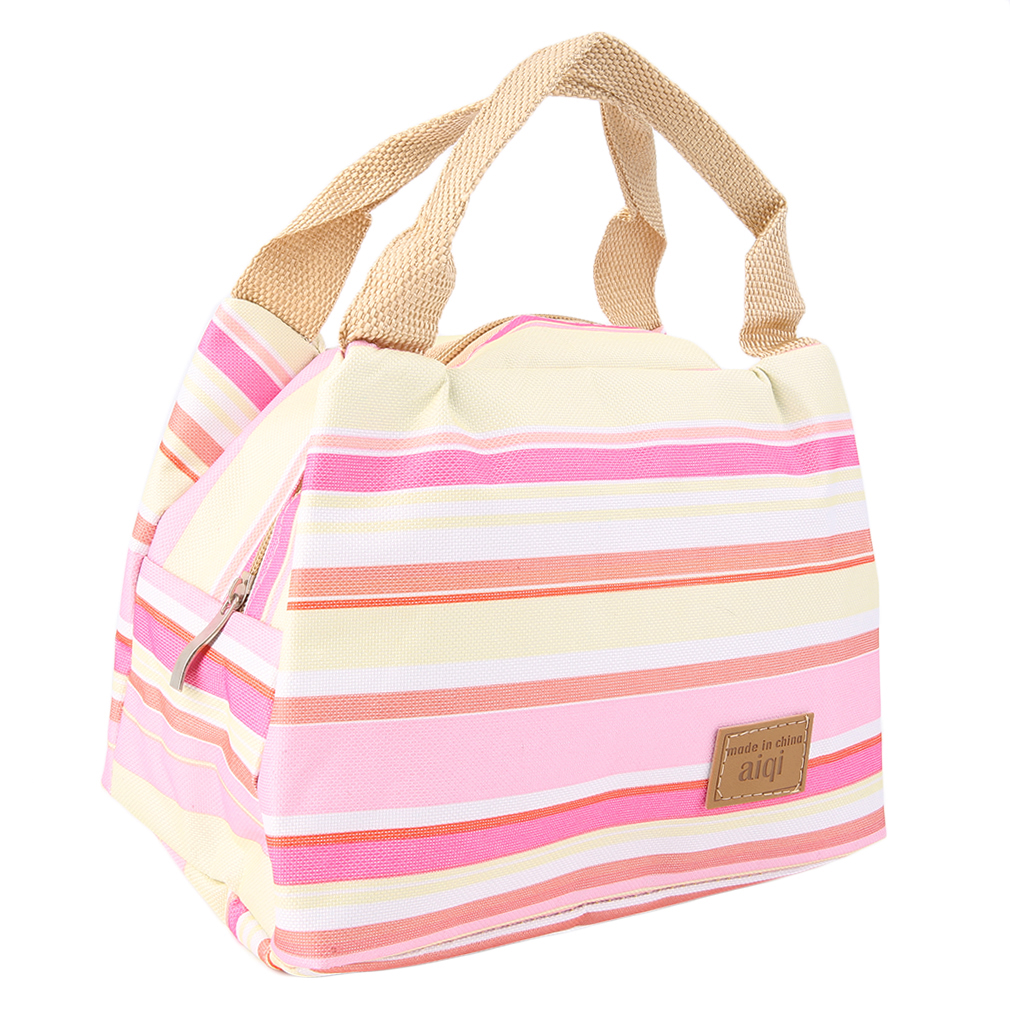 Pink Portable Lunch Box Carry Tote Storage Bag Case Thermal Heat Preservation Bag