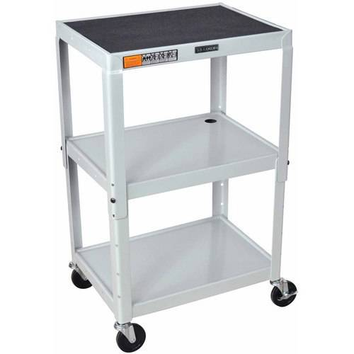 Luxor Adjustable Height Metal A/V Cart, with Casters & 3 Steel Shelves