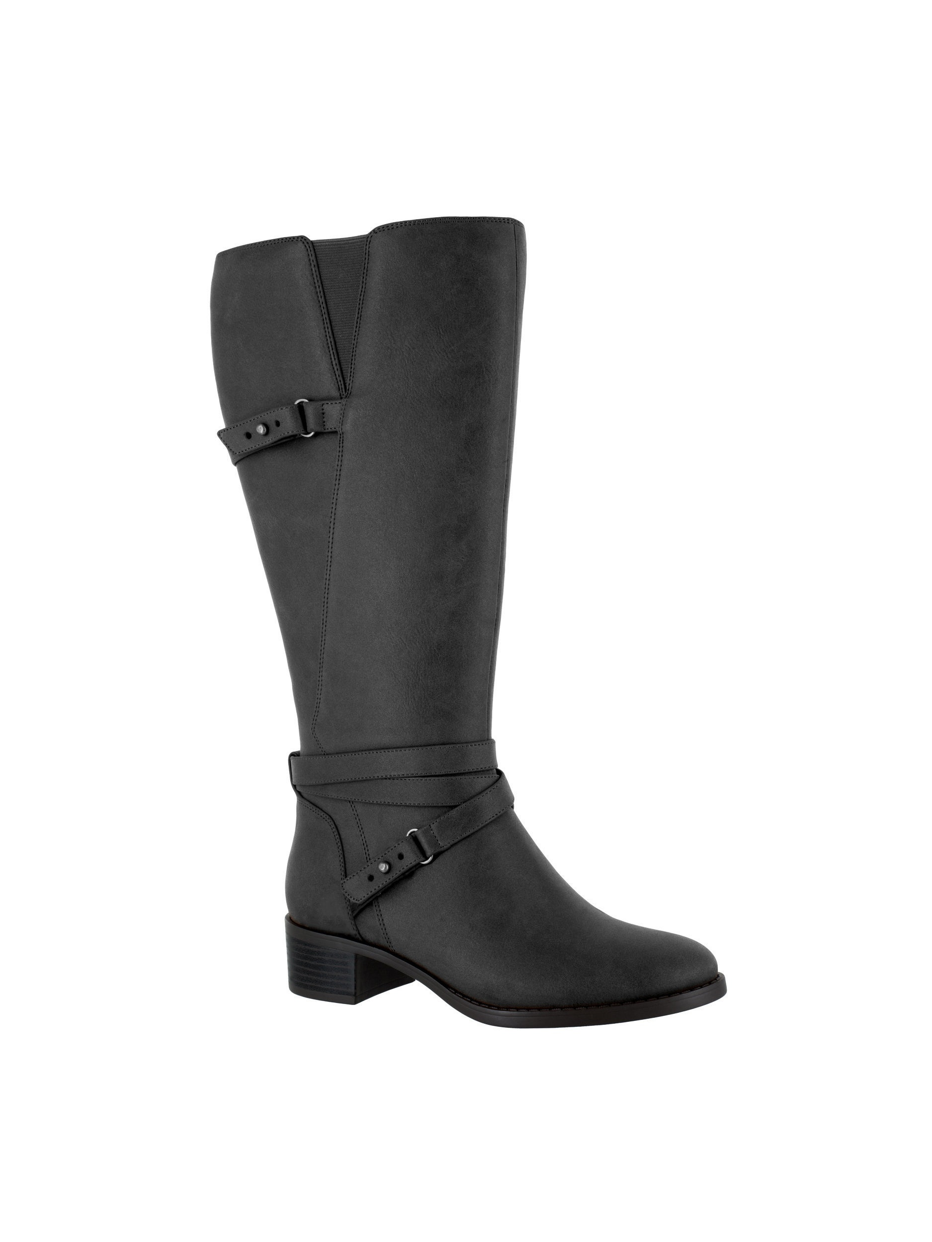 easy street  women's carlita plus tall wide calf boot (black)