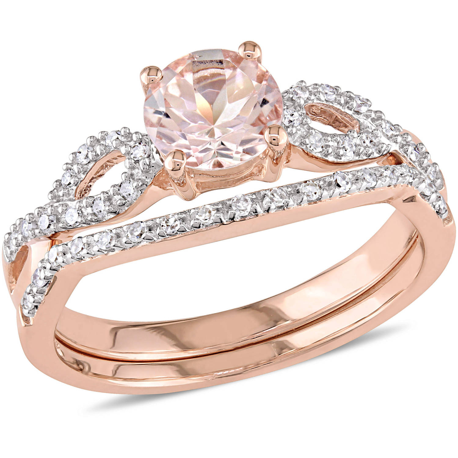 Tangelo 4/5 Carat T.G.W. Morganite with 1/6 Carat T.W. Diamond 10kt Rose Gold Infinity Design Bridal Set