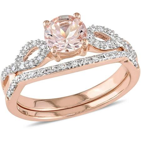 Tangelo 4 5 Carat T G W  Morganite With 1 6 Carat T W  Diamond 10Kt Rose Gold Infinity Design Bridal Set