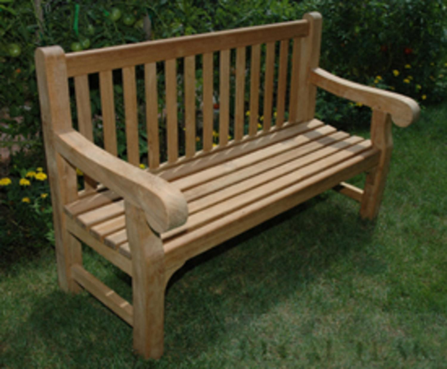 "60"" Natural Teak Outdoor Patio Hyde Park Wooden Bench by Eco-Friendly Furnishings"