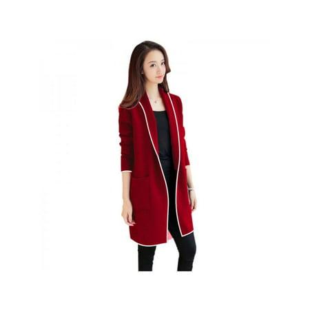 (Nicesee Women's Lapel Plus Velvet Long Sleeve Warm Coat)