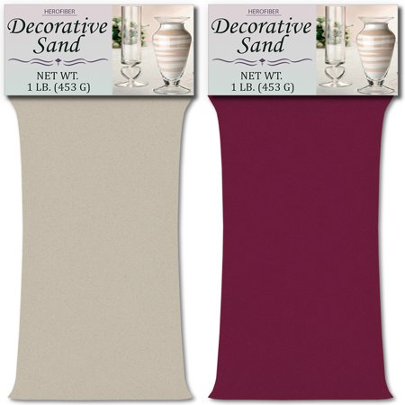 Color Of Sand (HeroFiber Colored Unity Sand (2 lbs.) - Silver and Mauve - 1 lbs. per Color - Decorative Art Sand for Weddings, Vase Filling, Kids' Craft)