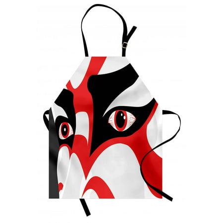 Dramatic Masks - Kabuki Mask Apron Japanese Drama Theme Kabuki Face with Dramatic Eyes Cultural Theater, Unisex Kitchen Bib Apron with Adjustable Neck for Cooking Baking Gardening, Black White Orange, by Ambesonne