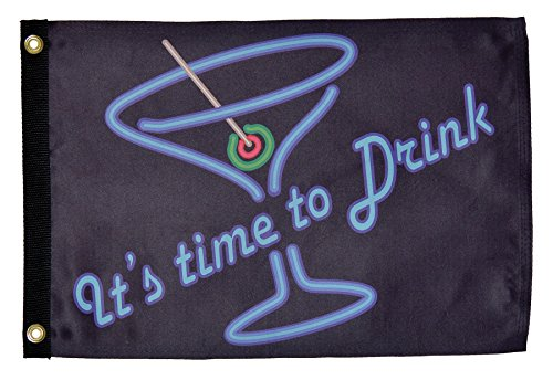 "In the Breeze ""It's Time to Drink"" Lustre Grommeted Boat Flag, 12 by 18-Inch by In The Breeze"