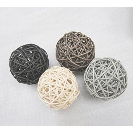 20PCS Mixed Black Grey Brown White Wicker Rattan Ball Wedding Christmas Party Hanging Decoration Nursery Mobiles ()