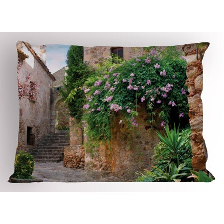 - Landscape Pillow Sham Summer Garden Flowers Marigold Stones Antique Ancient House in Spain Art Print, Decorative Standard Queen Size Printed Pillowcase, 30 X 20 Inches, Multicolor, by Ambesonne