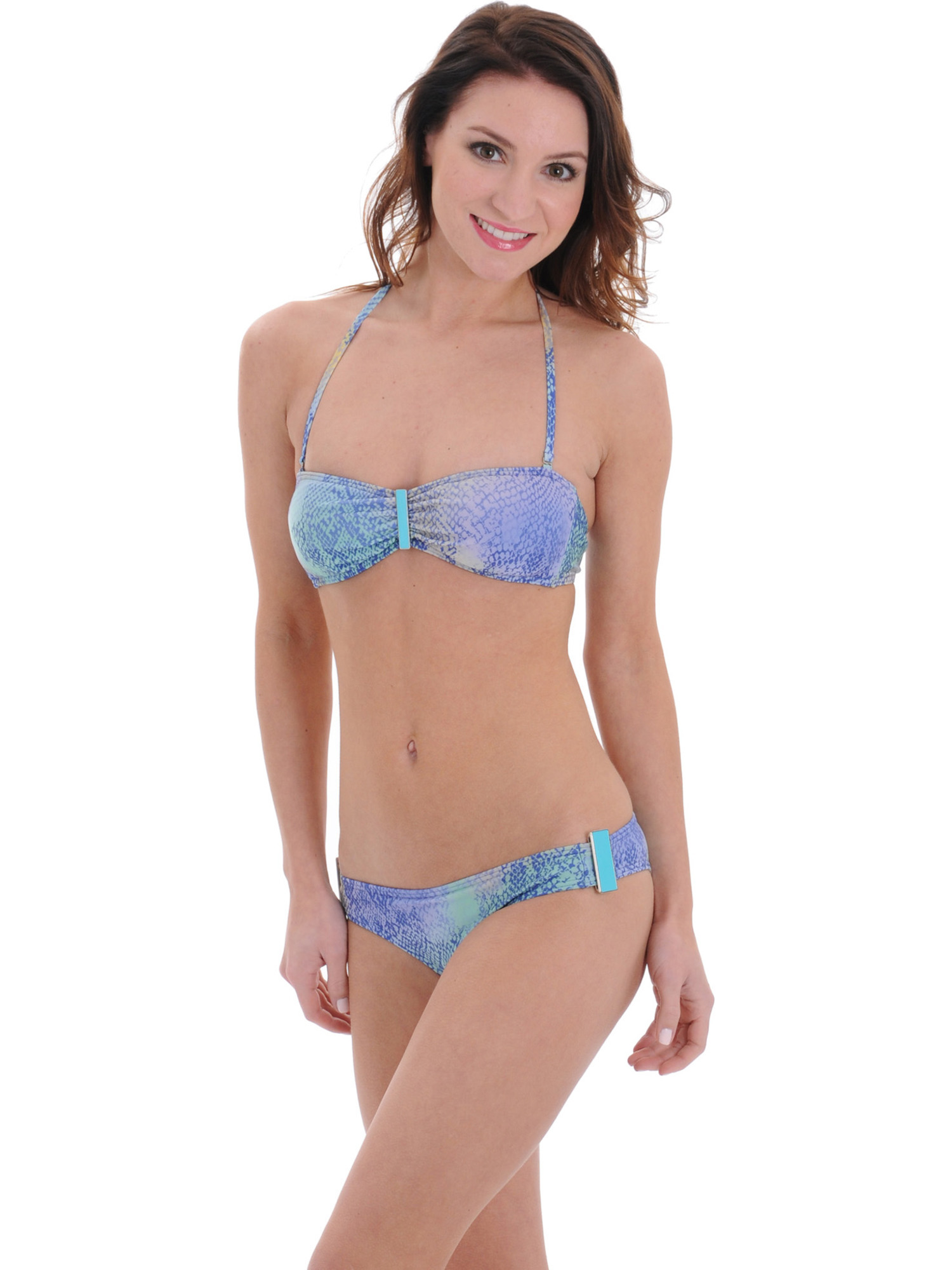 Raisins Junior Blue Halter Bandeau Swimsuit 2 Piece Bikini Set Cheeky Bottoms