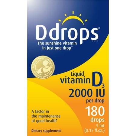 Ddrops Adult Vitamin D Liquid Drops, 2000 IU, 180 Ct ()