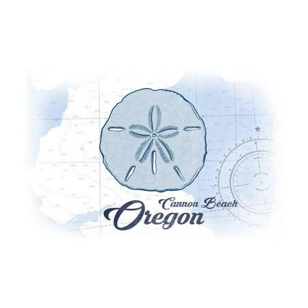 Cannon Beach, Oregon - Sand Dollar - Blue - Coastal Icon Print Wall Art By Lantern Press - Halloween Cannon Beach