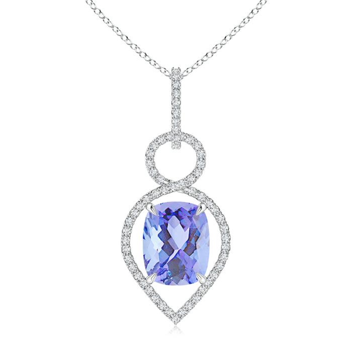 Angara Cushion Tanzanite Infinity Drop Pendant with Diamonds VQFwn