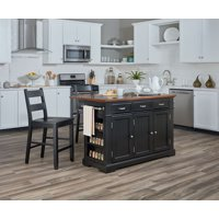 Farmhouse Basics Kitchen Island with Granite and Drop Leaf in Black with Vintage Oak Top and Two Matching Stools