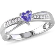 1/4 Carat T.G.W. Tanzanite and Diamond-Accent Sterling Silver Cross-Over Heart Engagement Ring