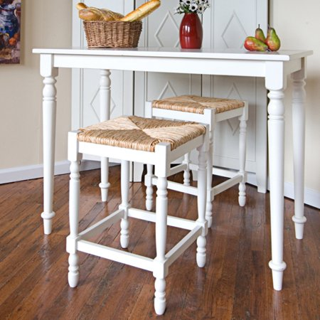 Carolina Gilbert 24 in. Counter Stool - Antique White with Rush Seat Rush Seat Chair