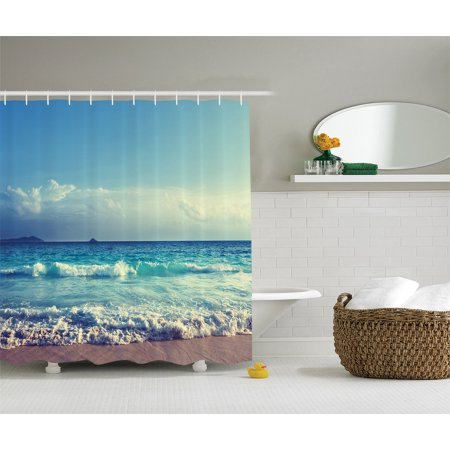 Tropical Island Decor  Ocean Waves Seychelles Beach In Sunset Time, Bathroom Accessories, 69W X 70L Inches, By -