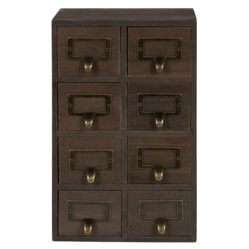 Gracie Oaks Kristian Apothecary Wood Vertical 8 Drawer Desktop Organizer