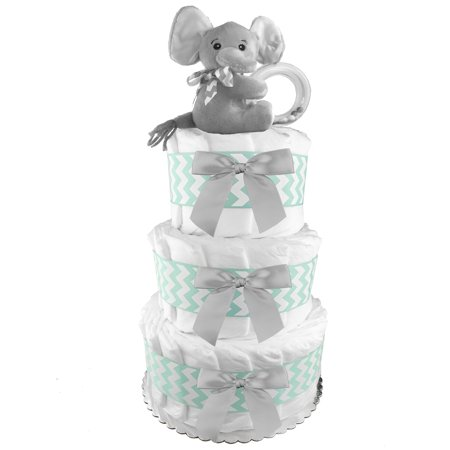 Diaper Cakes Make (Gender Neutral Elephant 3-Tier Diaper Cake - 62 Diapers - Baby Shower Gift - Centerpiece - Mint and Gray )