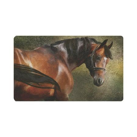 Horse Bath Decor (MKHERT Classical Horse Vintage Animal Portrait Oil Painting Doormat Rug Home Decor Floor Mat Bath Mat 30x18 inch )