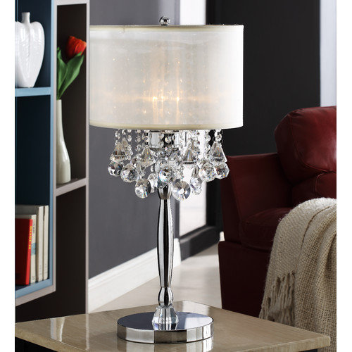 Kingstown Home Cortona Mist Crystal 29.5'' H Table Lamp with Drum Shade