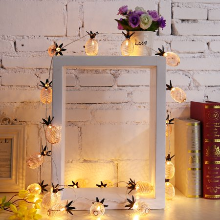 LED String Lights 7.2FT Pineapple Globe String Light, Battery Powered Fairy Lighting for Home Wedding Party Bedroom Birthday Decoration - Warm White, 20 LED, Metal - image 5 de 11