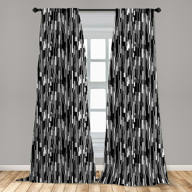 Black and White Curtains 2 Panels Set, Barcode Pattern Abstraction Vertical Stripes in Grayscale Colors, Window Drapes for Living Room Bedroom, Black Grey White, by Ambesonne