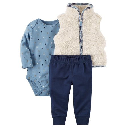Carter's Baby Boys' 3-Piece Little Sherpa Vest Set- Plaid Wilderness - 24 Months