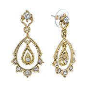 """Downton Abbey """"Gilded Age Carded"""" Gold-Tone Crystal Belle Epoch Scallop Dangle Top Drop Earrings"""
