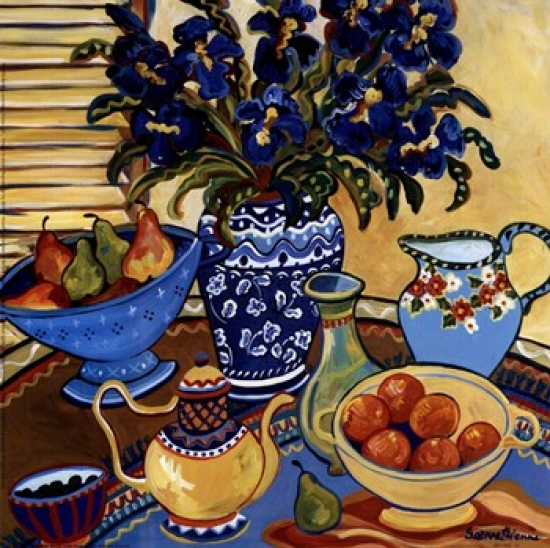 Blue And White With Oranges Poster Print by Suzanne Etienne (9 x 9)