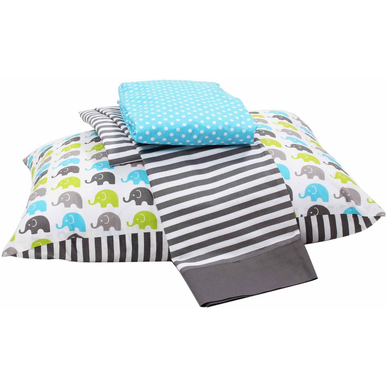 Bacati  -  Elephants 3 - Piece 100% Cotton Percale Toddler Sheet Set, Aqua / Lime / Gray