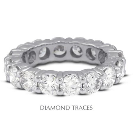 Diamond Traces UD-EWB100-0791 Platinum 950 4-Prong Setting 1.46 Carat Total Natural Diamonds Classic Eternity Ring