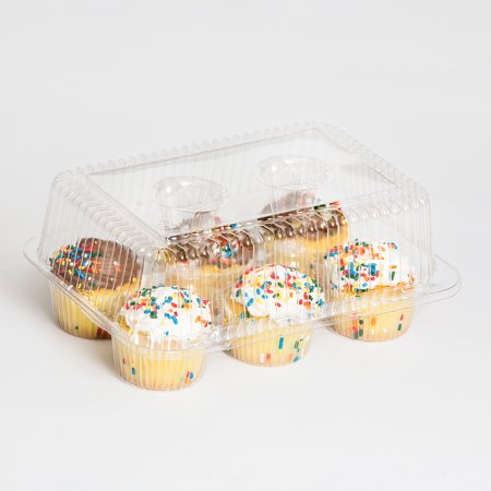 Inline Plastics Sure Lock Clear Hinged, 6 Compartment, 2.5 Inch Standard Cupcake Muffin Container   300/Case