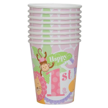 9oz Pink Safari First Birthday Party Cups, 8ct By Unique Ship from US - Safari Birthday Ideas